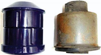 Comparison between SuperPro bushing (left) and OEM version (right)
